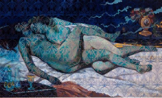 OM_Les deux amies_2019_Les Odalisques_La m├®moire de la peinture_Huile sur toile_140 x 200 cm_Photo Hugo Miserey